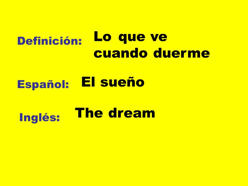 Lo que ve cuando duerme El sueño The dream Definición: Español: