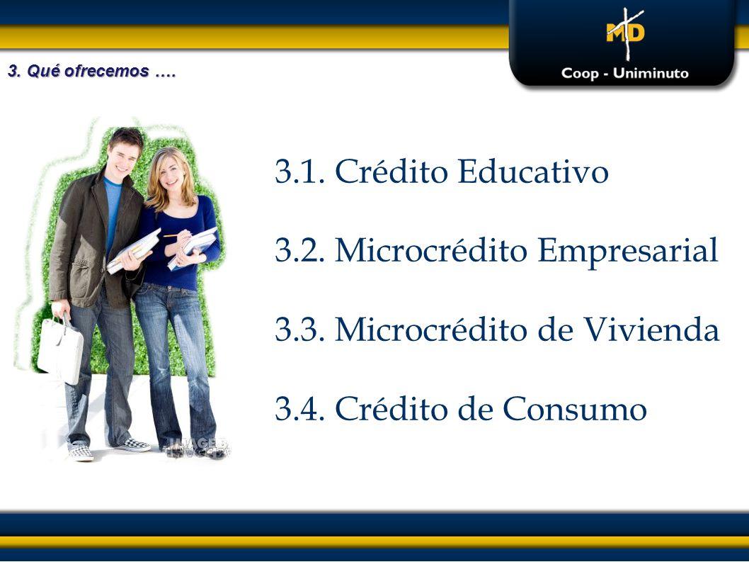 3.2. Microcrédito Empresarial 3.3. Microcrédito de Vivienda