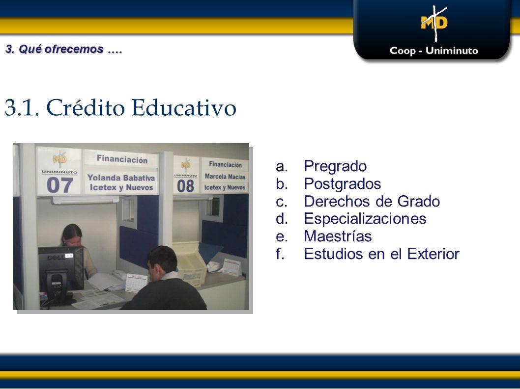 3.1. Crédito Educativo Pregrado Postgrados Derechos de Grado