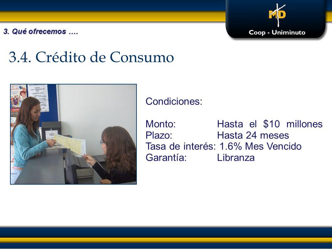 3.4. Crédito de Consumo Condiciones: