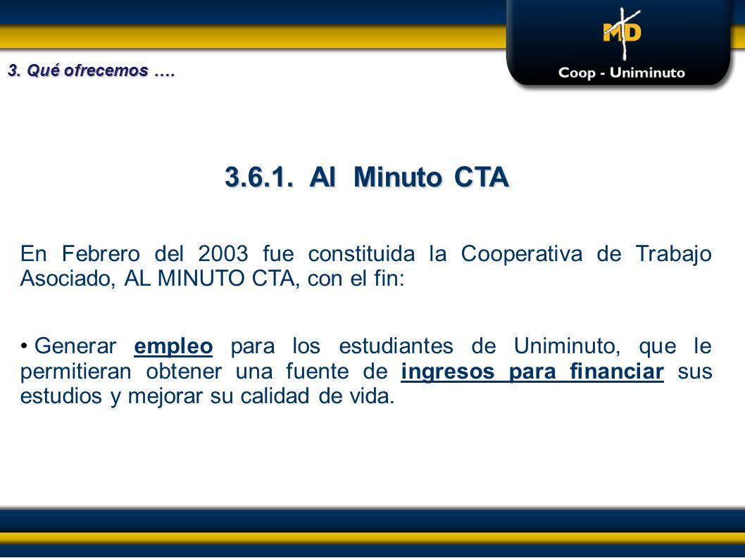 3. Qué ofrecemos …. 3.6.1. Al Minuto CTA. En Febrero del 2003 fue constituida la Cooperativa de Trabajo Asociado, AL MINUTO CTA, con el fin: