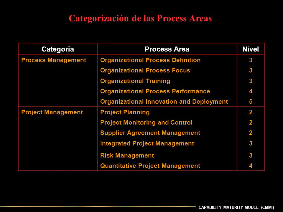 Categorización de las Process Areas