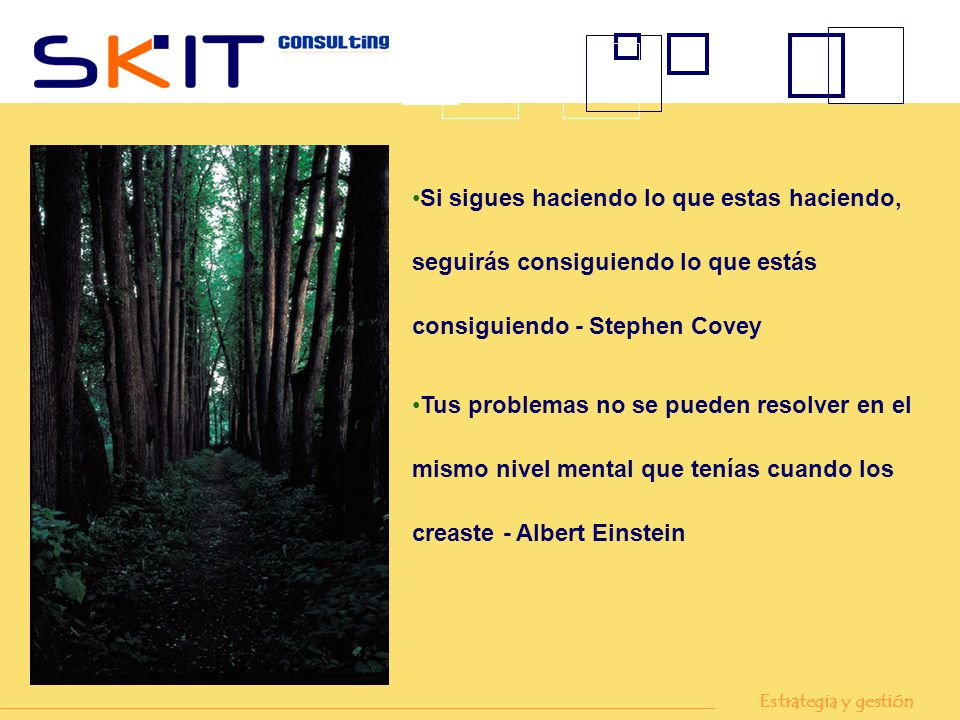 Si sigues haciendo lo que estas haciendo, seguirás consiguiendo lo que estás consiguiendo - Stephen Covey