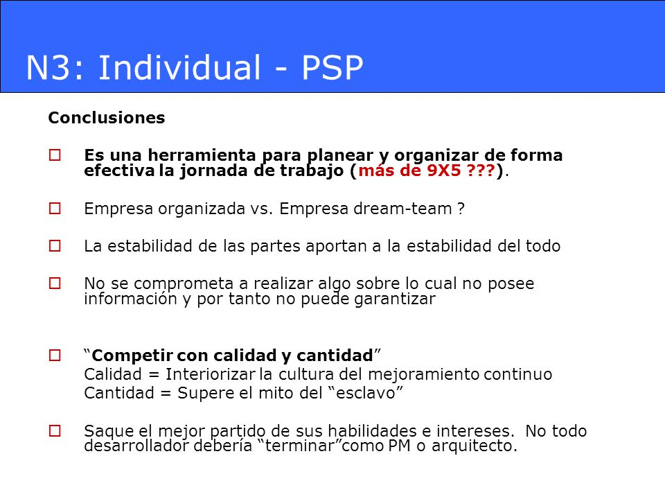 N3: Individual - PSP Conclusiones