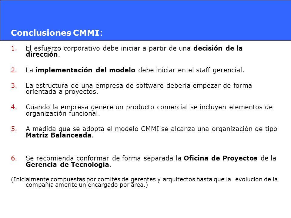 Conclusiones CMMI: El esfuerzo corporativo debe iniciar a partir de una decisión de la dirección.