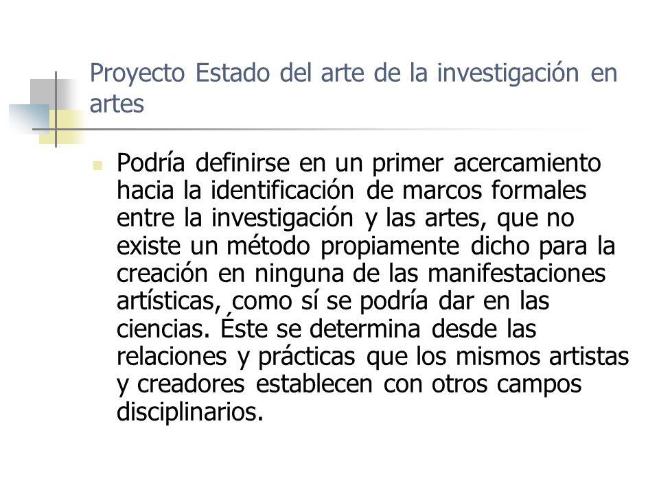 Proyecto Estado del arte de la investigación en artes