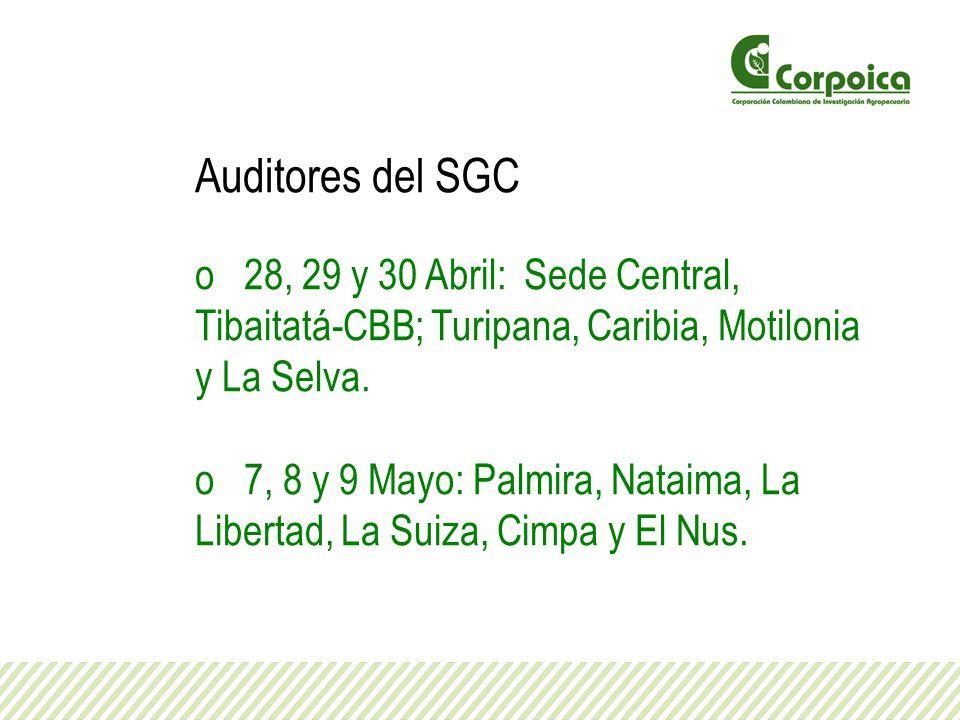 Auditores del SGC 28, 29 y 30 Abril: Sede Central, Tibaitatá-CBB; Turipana, Caribia, Motilonia y La Selva.