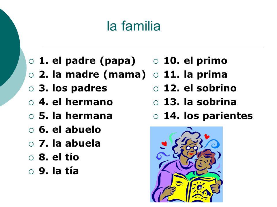 la familia 10. el primo 11. la prima 12. el sobrino 13. la sobrina