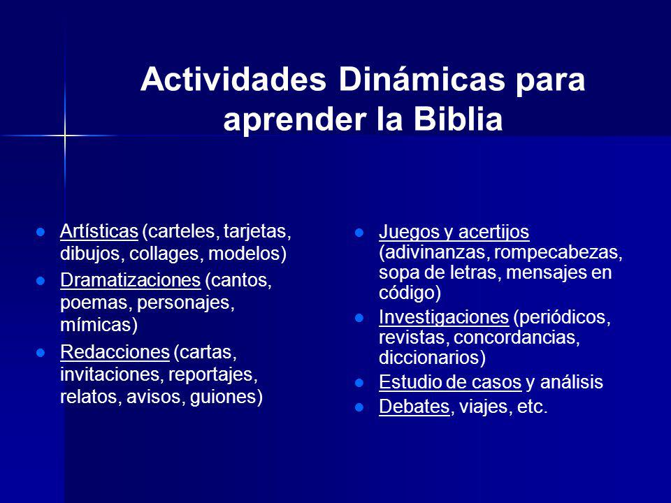 Actividades Dinámicas para aprender la Biblia