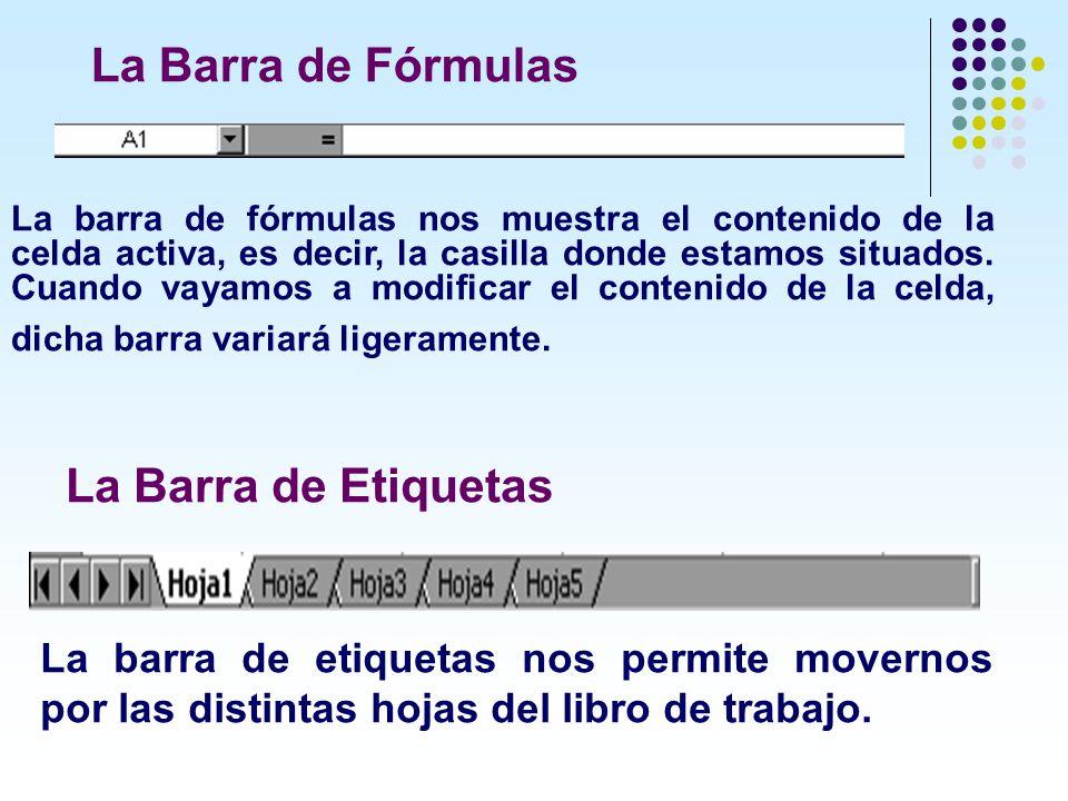 La Barra de Fórmulas La Barra de Etiquetas