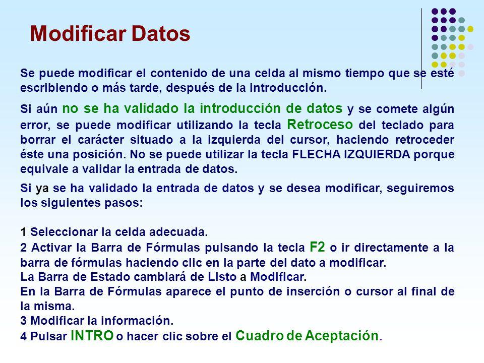 Modificar Datos Se puede modificar el contenido de una celda al mismo tiempo que se esté escribiendo o más tarde, después de la introducción.
