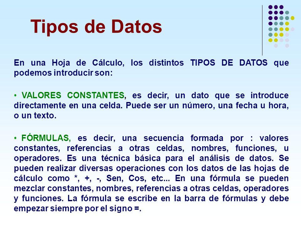 Tipos de Datos En una Hoja de Cálculo, los distintos TIPOS DE DATOS que podemos introducir son: