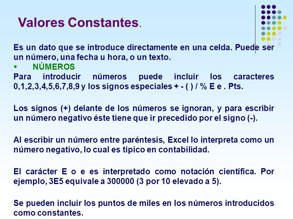 Valores Constantes. Es un dato que se introduce directamente en una celda. Puede ser un número, una fecha u hora, o un texto.