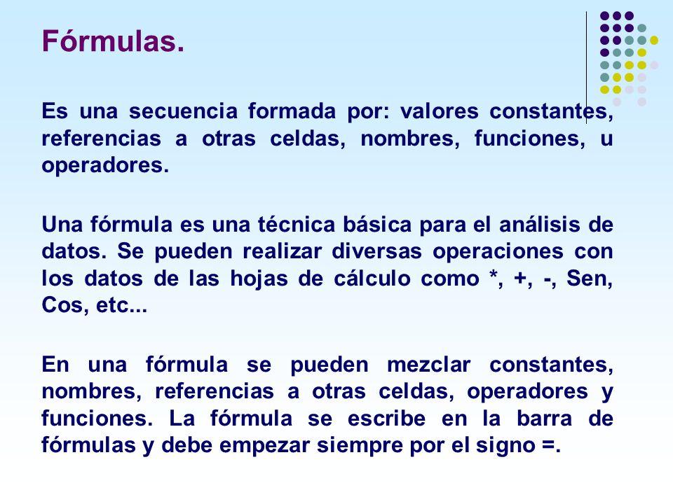 Fórmulas. Es una secuencia formada por: valores constantes, referencias a otras celdas, nombres, funciones, u operadores.