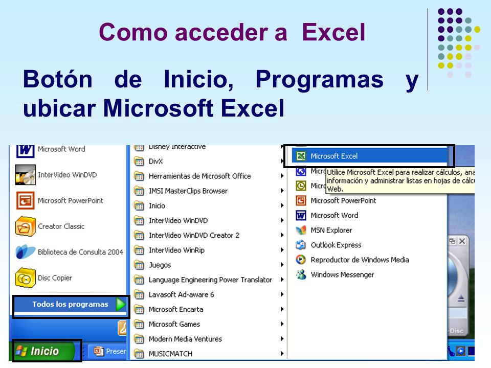 Como acceder a Excel Botón de Inicio, Programas y ubicar Microsoft Excel