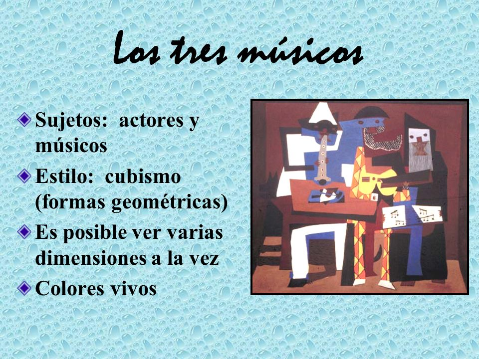 Los tres músicos Sujetos: actores y músicos