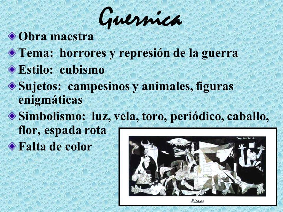 Guernica Obra maestra Tema: horrores y represión de la guerra