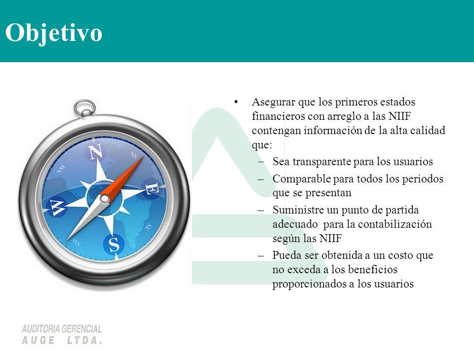 Objetivo Asegurar que los primeros estados financieros con arreglo a las NIIF contengan información de la alta calidad que: