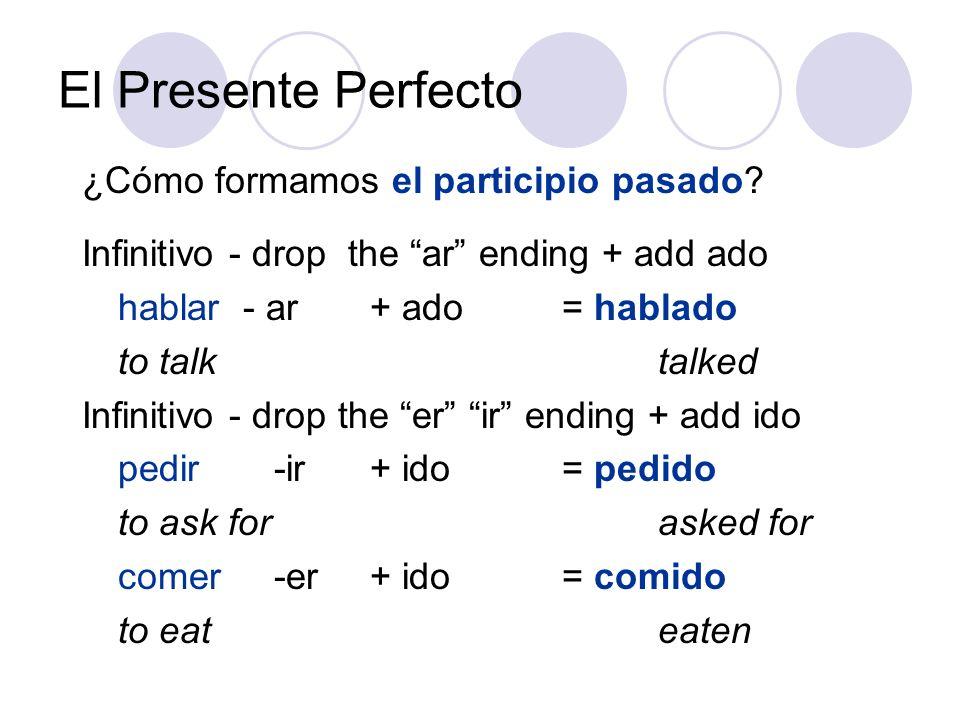 El Presente Perfecto ¿Cómo formamos el participio pasado