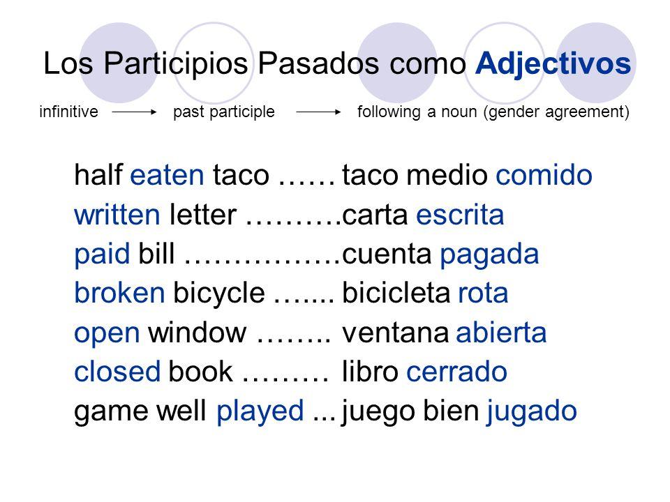 Los Participios Pasados como Adjectivos