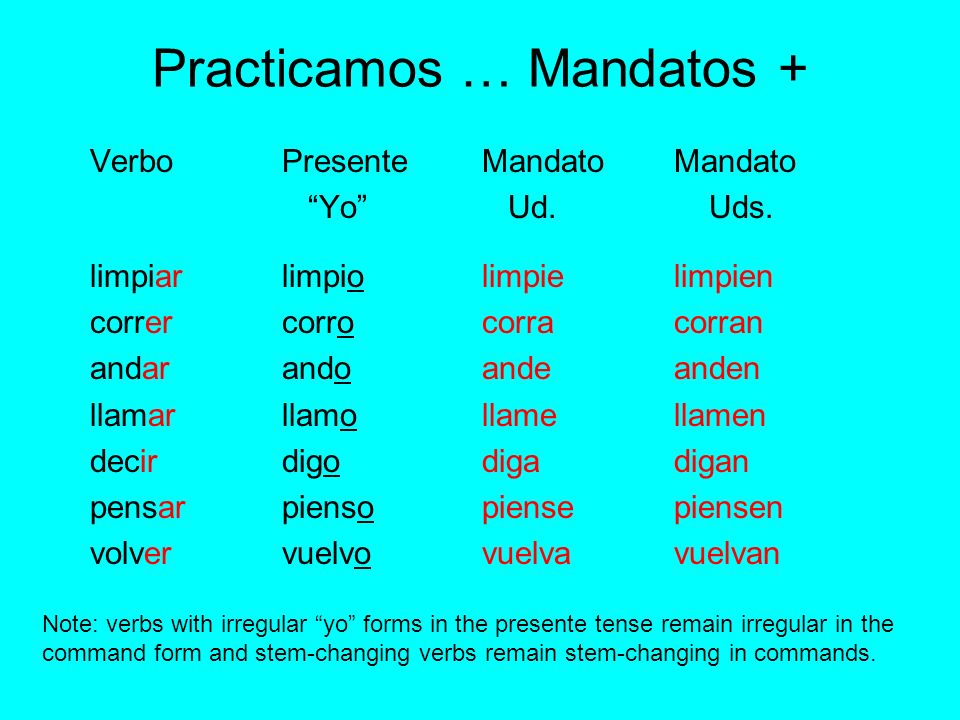 Practicamos … Mandatos +