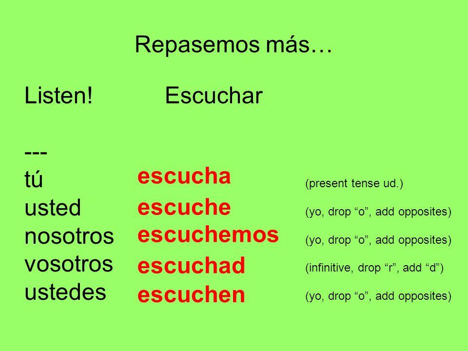 Repasemos más… Listen! Escuchar. --- tú (present tense ud.) usted (yo, drop o , add opposites)