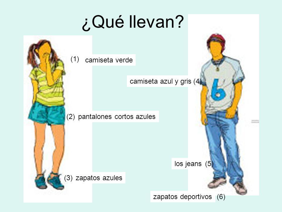 ¿Qué llevan (1) camiseta verde camiseta azul y gris (4) (2)