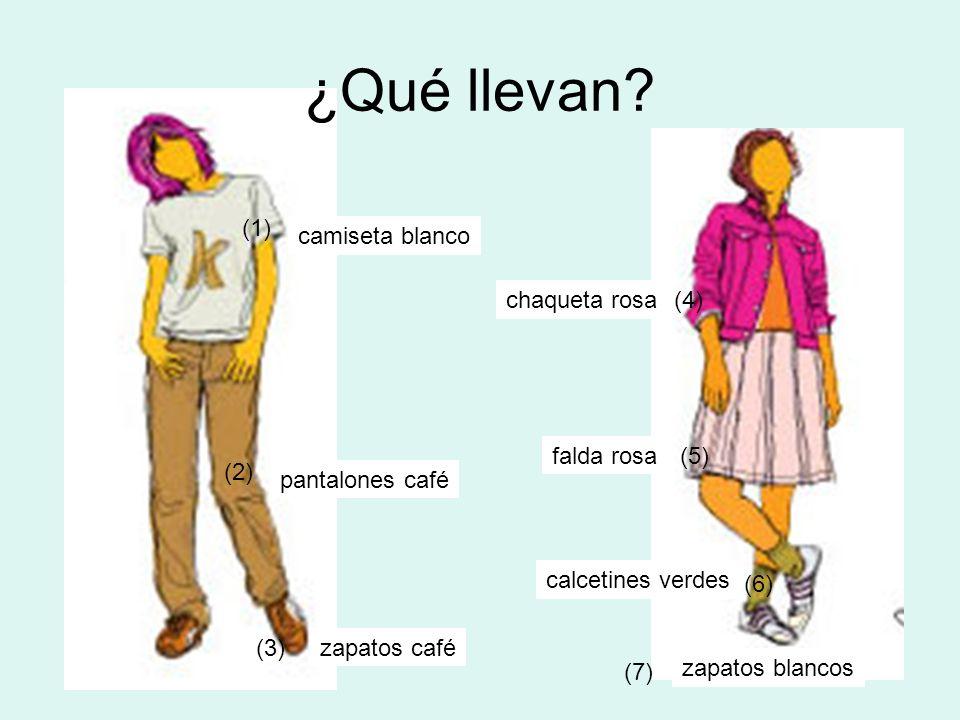 ¿Qué llevan (1) camiseta blanco chaqueta rosa (4) falda rosa (5) (2)