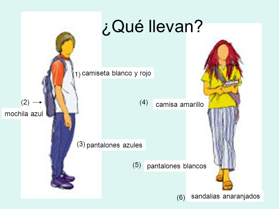 ¿Qué llevan (1) camiseta blanco y rojo (2) (4) camisa amarillo
