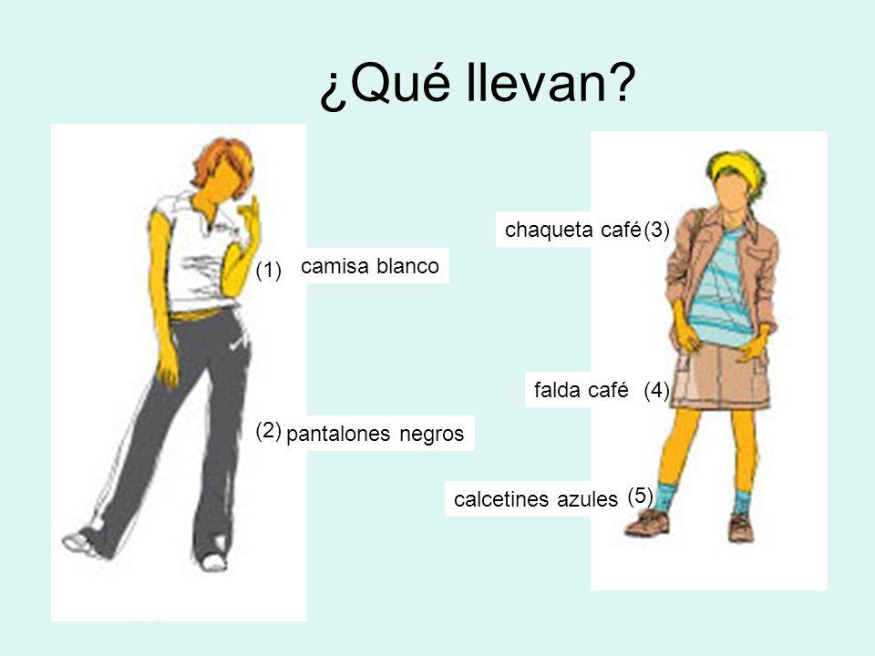 ¿Qué llevan chaqueta café (3) (1) camisa blanco falda café (4) (2)