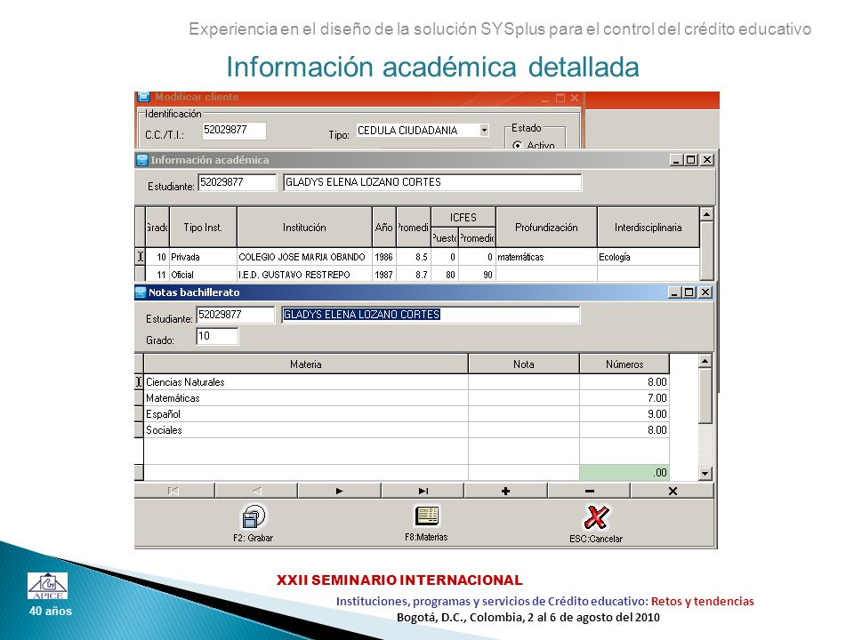 Información académica detallada