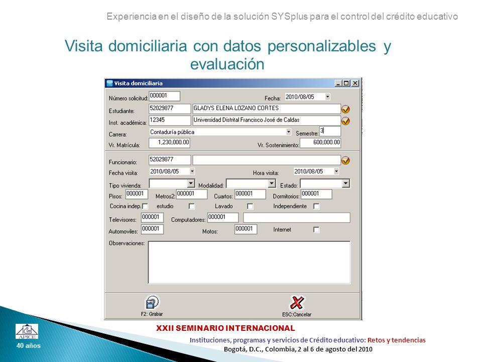 Visita domiciliaria con datos personalizables y evaluación