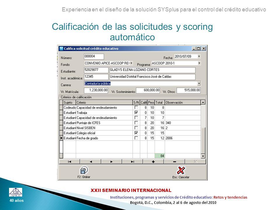 Calificación de las solicitudes y scoring automático