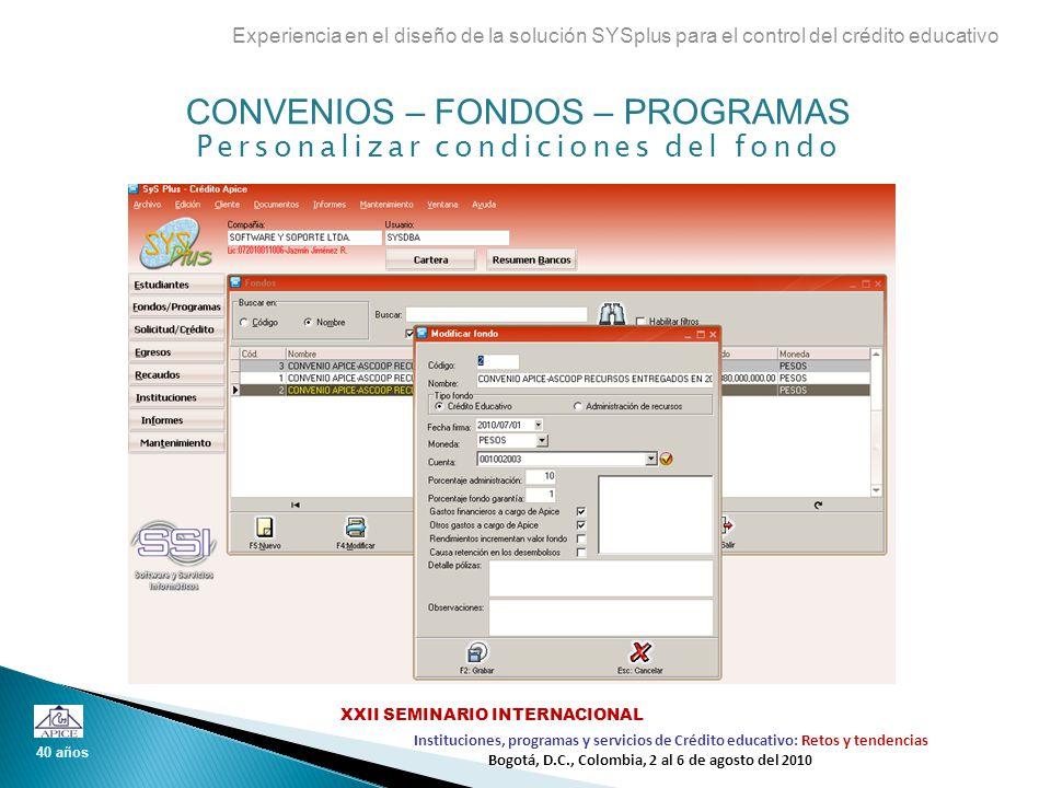 CONVENIOS – FONDOS – PROGRAMAS