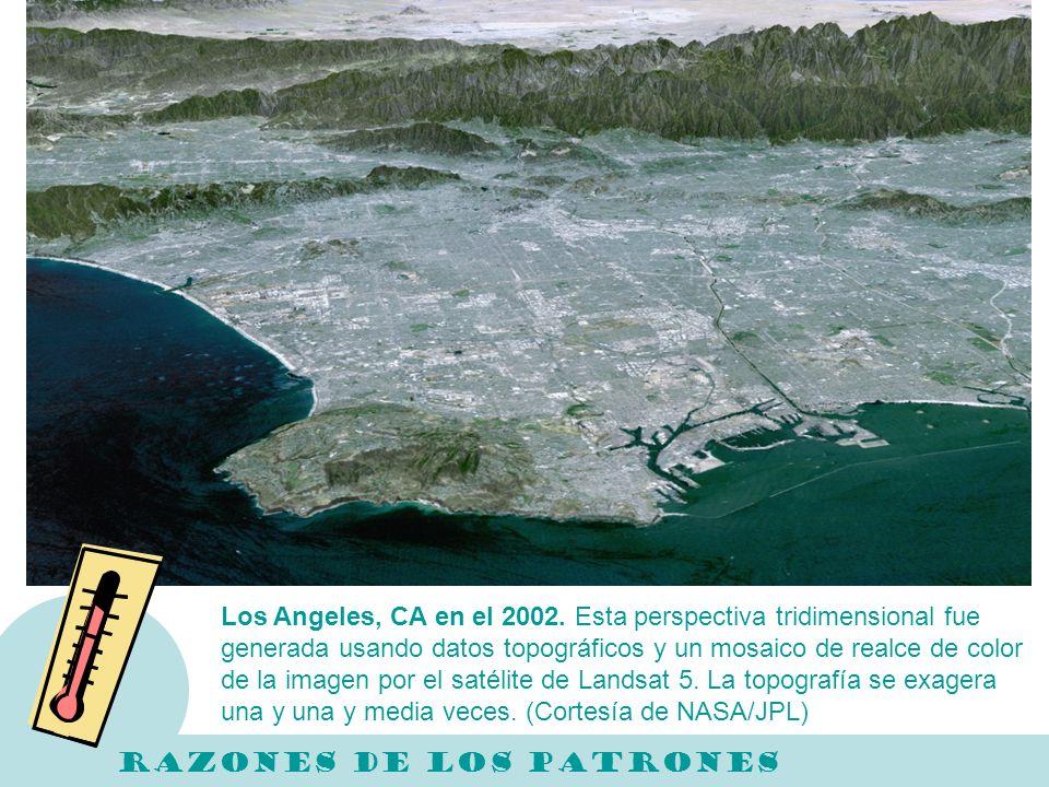 Los Angeles, CA en el 2002. Esta perspectiva tridimensional fue generada usando datos topográficos y un mosaico de realce de color de la imagen por el satélite de Landsat 5. La topografía se exagera una y una y media veces. (Cortesía de NASA/JPL)