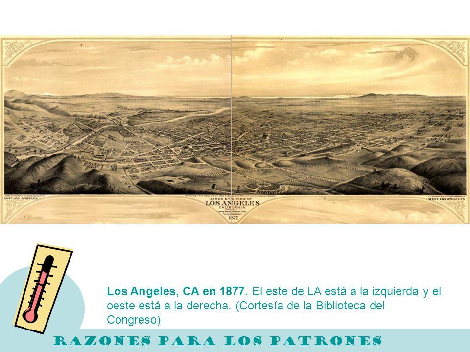 Los Angeles, CA en 1877. El este de LA está a la izquierda y el oeste está a la derecha. (Cortesía de la Biblioteca del Congreso)
