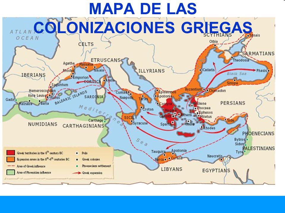 MAPA DE LAS COLONIZACIONES GRIEGAS