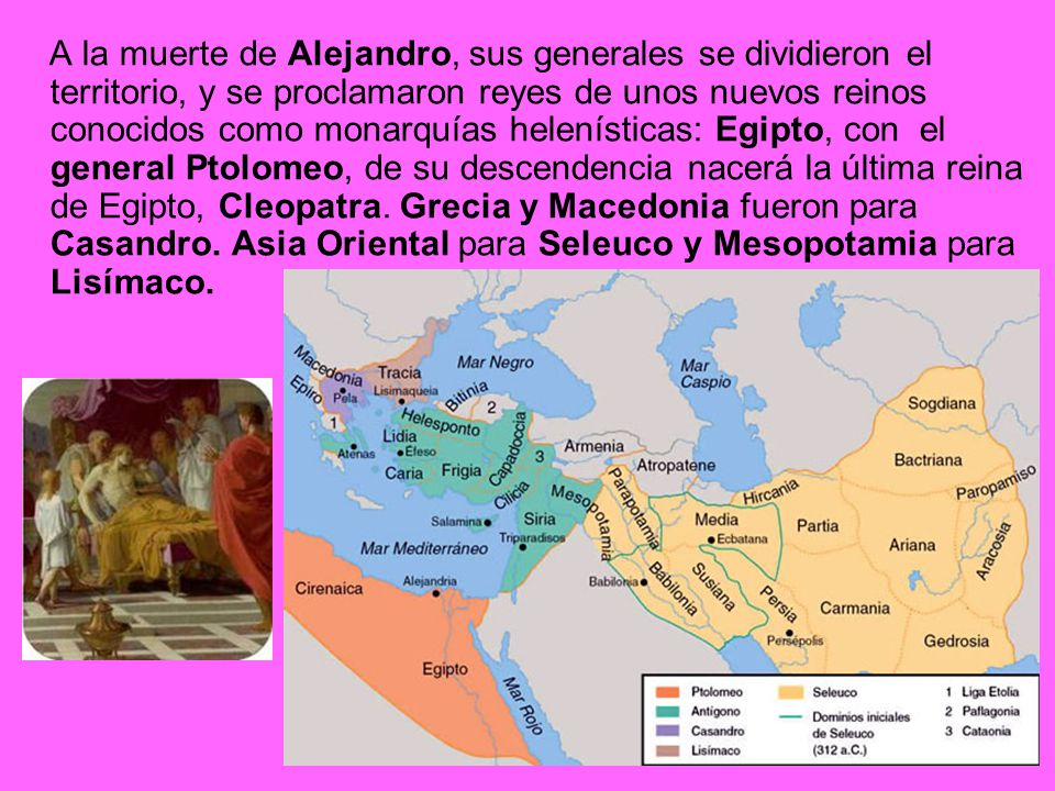 A la muerte de Alejandro, sus generales se dividieron el territorio, y se proclamaron reyes de unos nuevos reinos conocidos como monarquías helenísticas: Egipto, con el general Ptolomeo, de su descendencia nacerá la última reina de Egipto, Cleopatra.