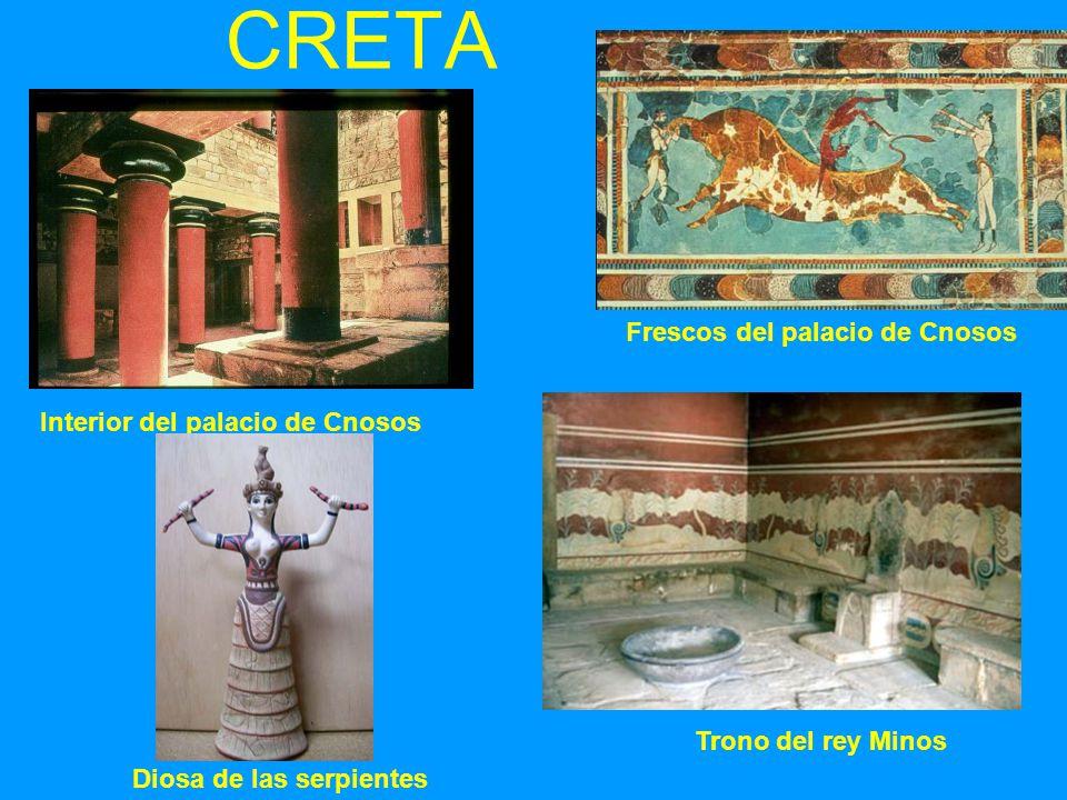 CRETA Frescos del palacio de Cnosos Interior del palacio de Cnosos