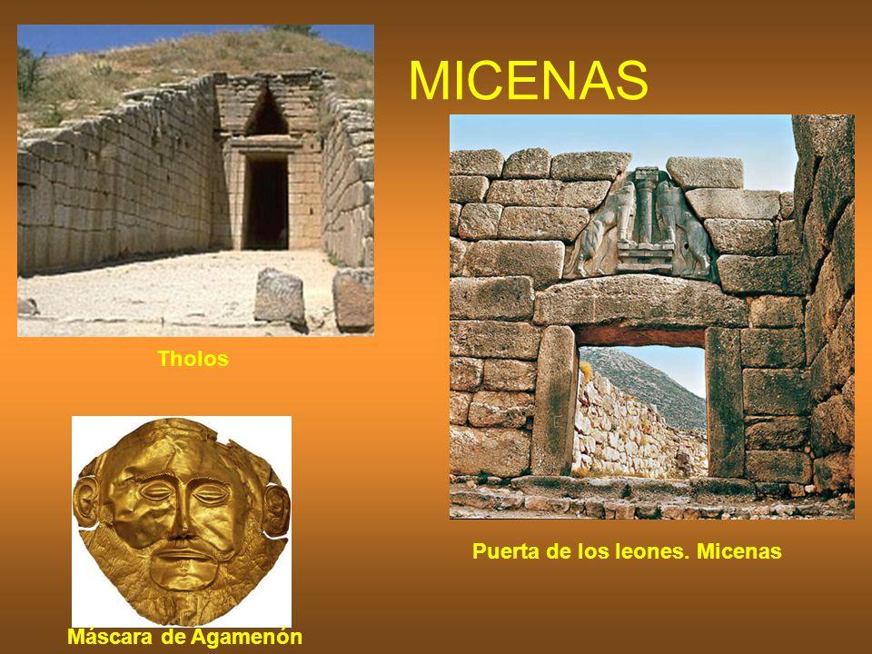 MICENAS Tholos Puerta de los leones. Micenas Máscara de Agamenón