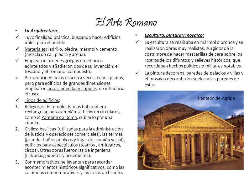 El Arte Romano La Arquitectura: