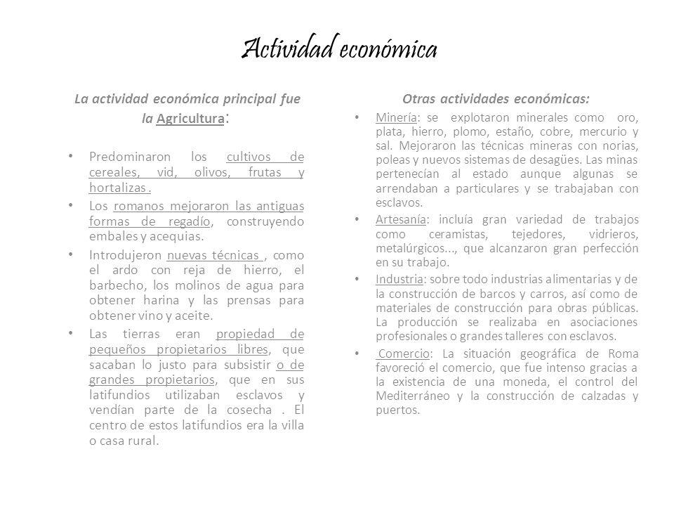 Actividad económica Otras actividades económicas: