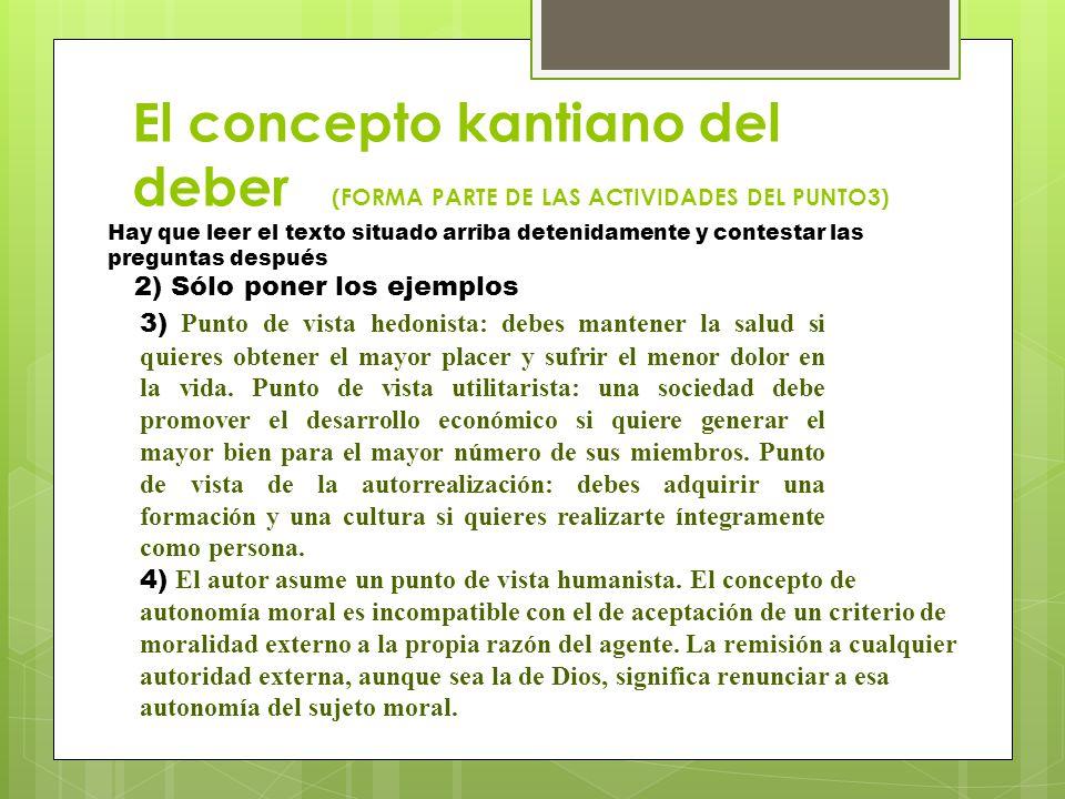 El concepto kantiano del deber (FORMA PARTE DE LAS ACTIVIDADES DEL PUNTO3)