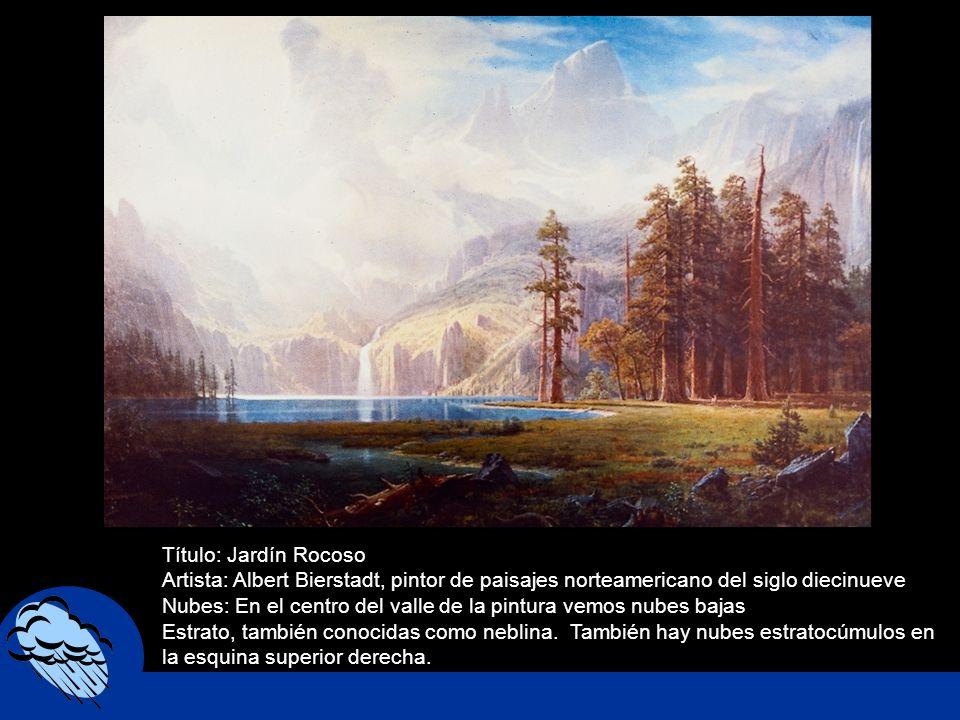 Título: Jardín Rocoso Artista: Albert Bierstadt, pintor de paisajes norteamericano del siglo diecinueve.
