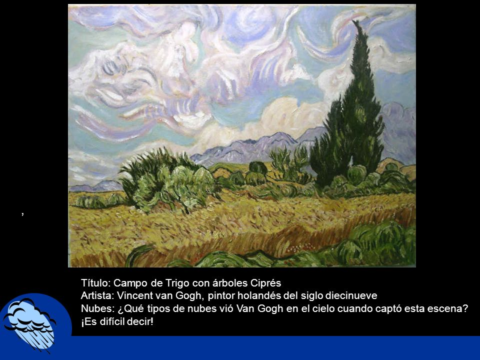 , Título: Campo de Trigo con árboles Ciprés