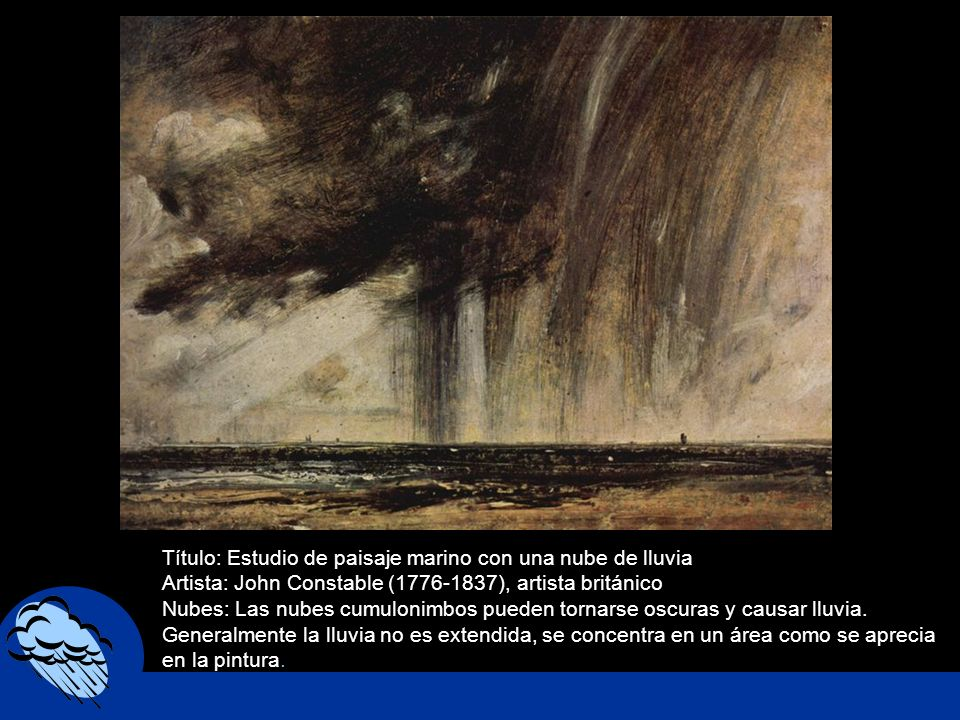 Título: Estudio de paisaje marino con una nube de lluvia