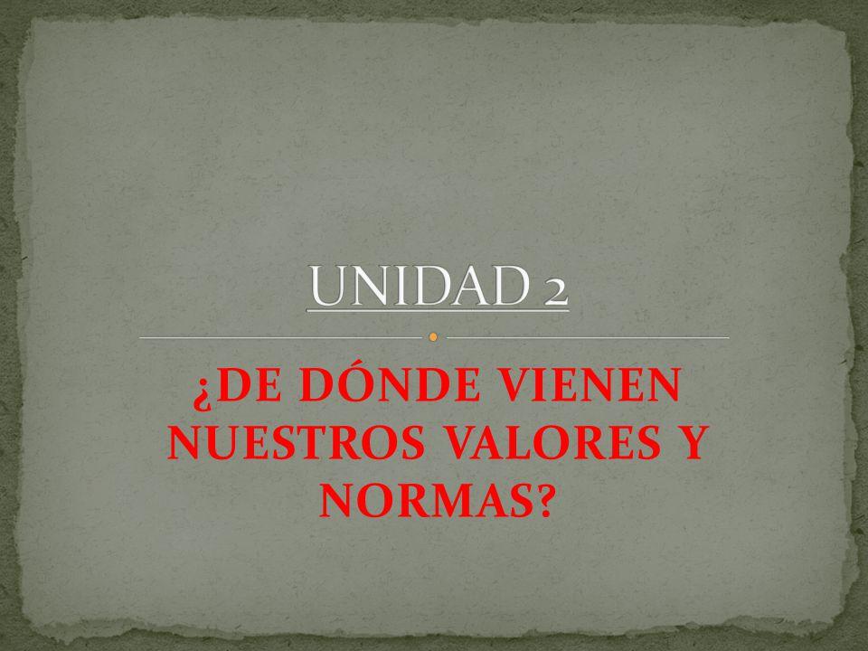 ¿DE DÓNDE VIENEN NUESTROS VALORES Y NORMAS