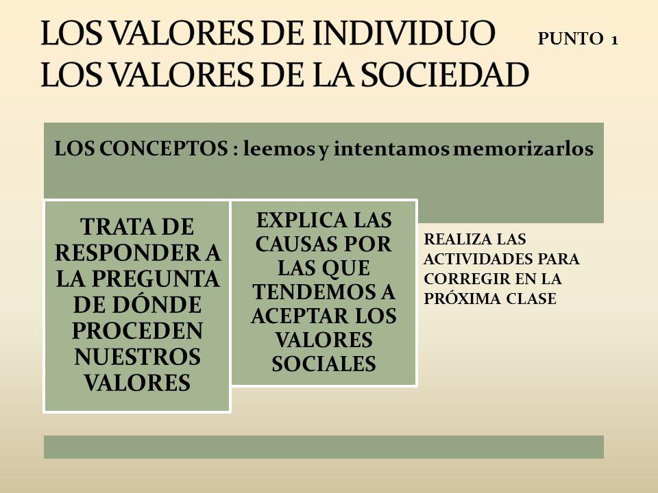 LOS VALORES DE INDIVIDUO LOS VALORES DE LA SOCIEDAD