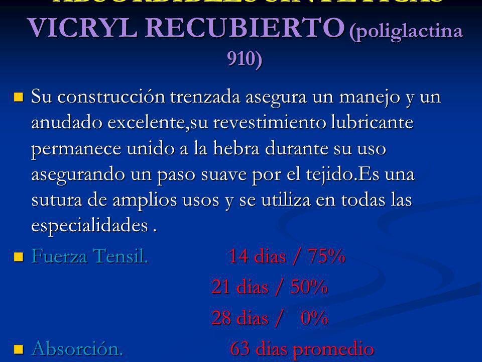 ABSORBIBLES SINTETICAS VICRYL RECUBIERTO (poliglactina 910)
