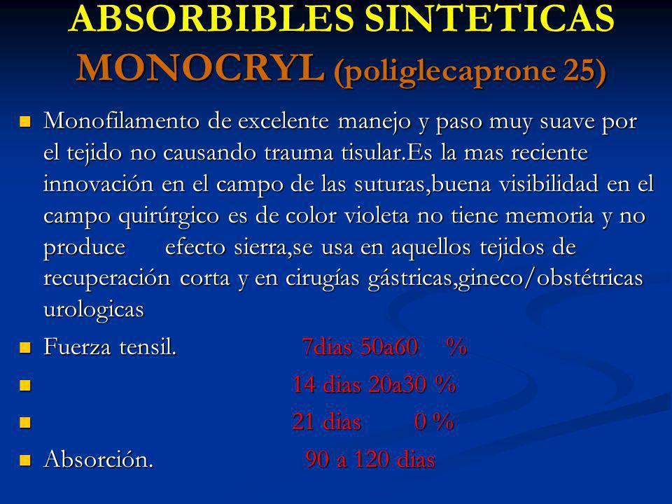 ABSORBIBLES SINTETICAS MONOCRYL (poliglecaprone 25)